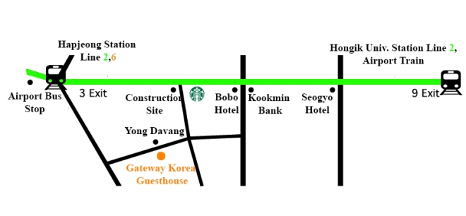 From Hapjeong Station exit 3 map